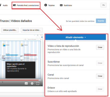 anotaciones en youtube