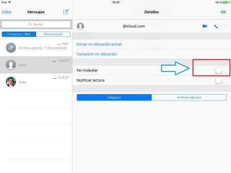 Bloquear mensajes SMS en iOS