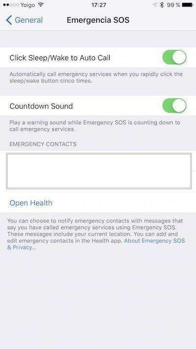 llamadas de emergencia SOS