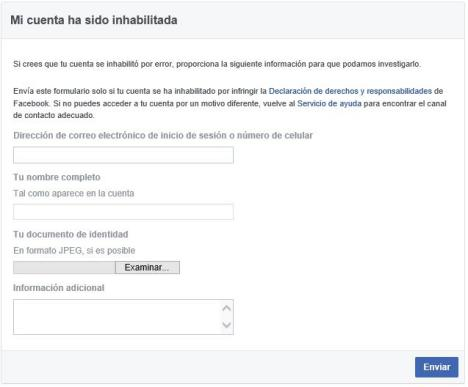 recuperar Facebook Inhabilitado