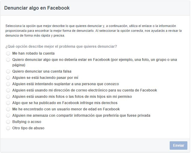 Formularios de Facebook combatir bullying