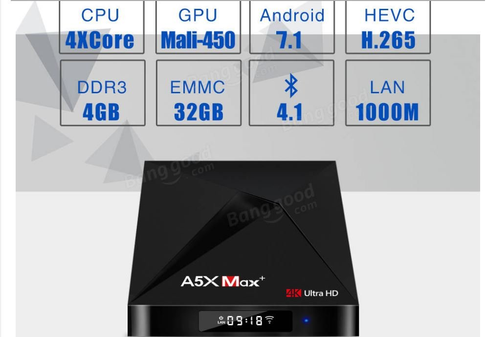 A5X MAX PLUS TV Box Android 4K Ultra HD