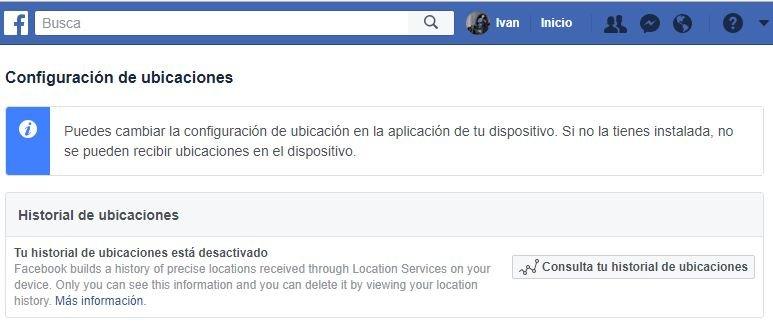 Historial de Ubicaciones con Facebook